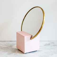 Slash Objects Vanity Mirror in Royal Rubber Back and cast pink