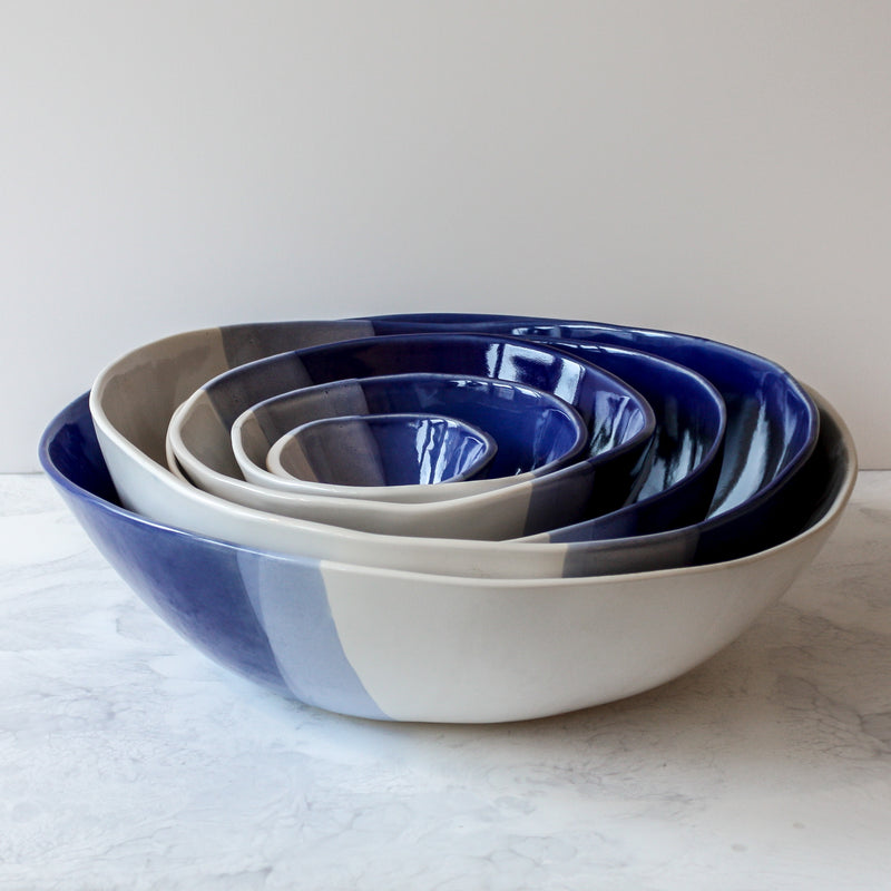 Blue and white round ceramic bowls