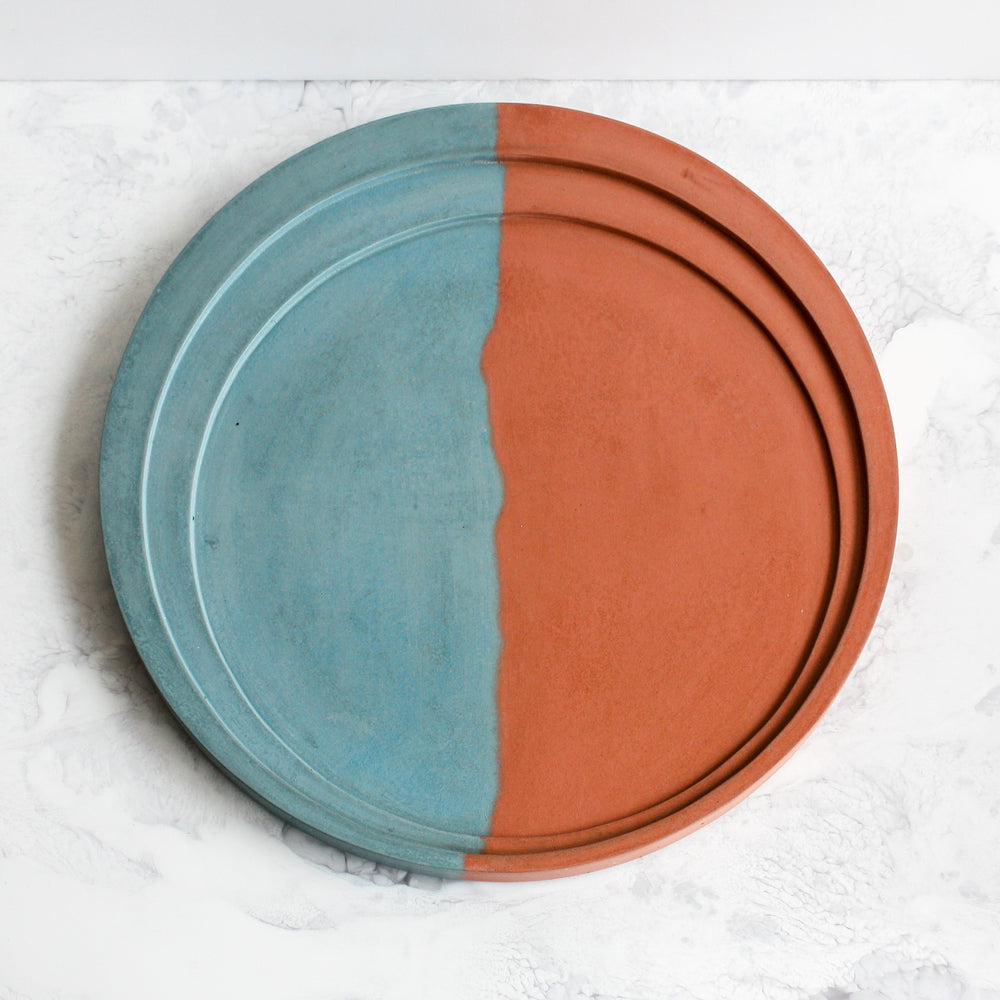 Turquoise and brick orange phases tray