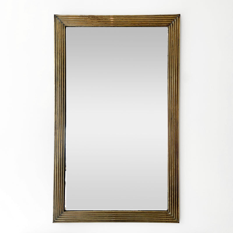 Antique French Reeded Brass Mirror