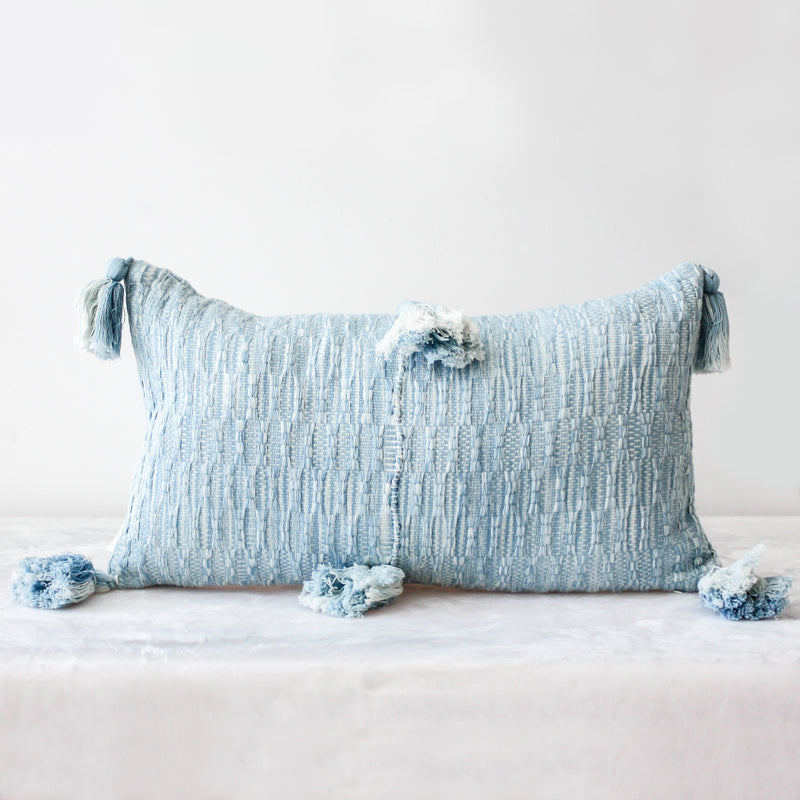 Antigua Pillow in Ocean Tie Dye made of 100 percent cotton and naturally dyed in blue by Archive NY