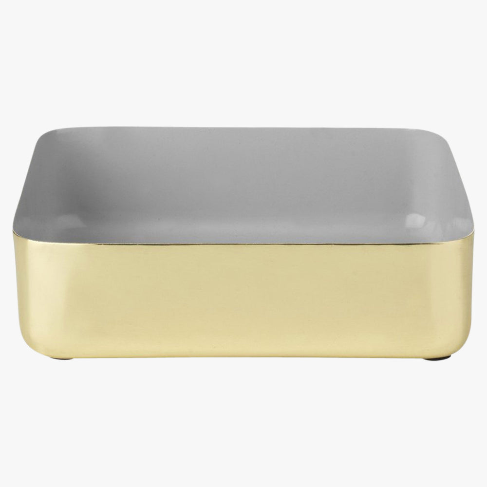 Large brass and grey enamel tray