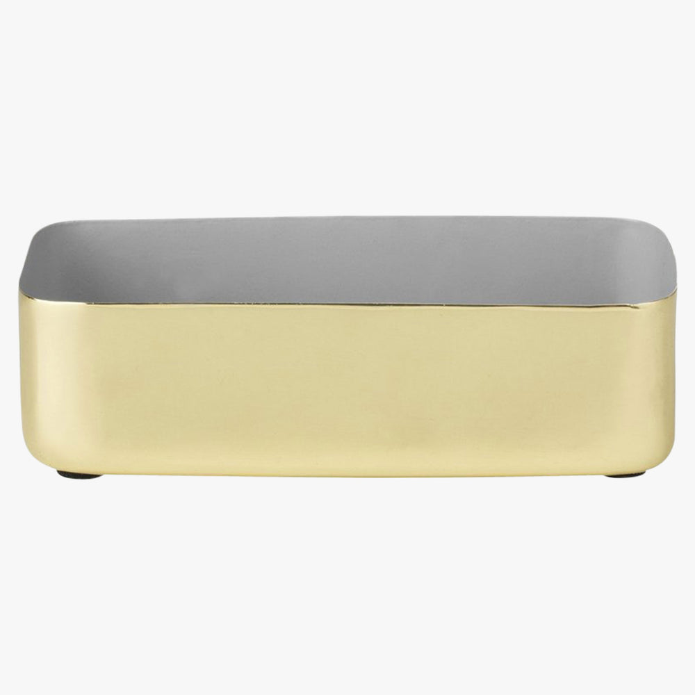 medium brass and grey enamel tray
