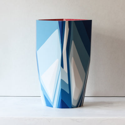 Lands End Vase handmade with resin and plaster in blue and pink part of the Anyon and Elyse Graham Blithe Collection
