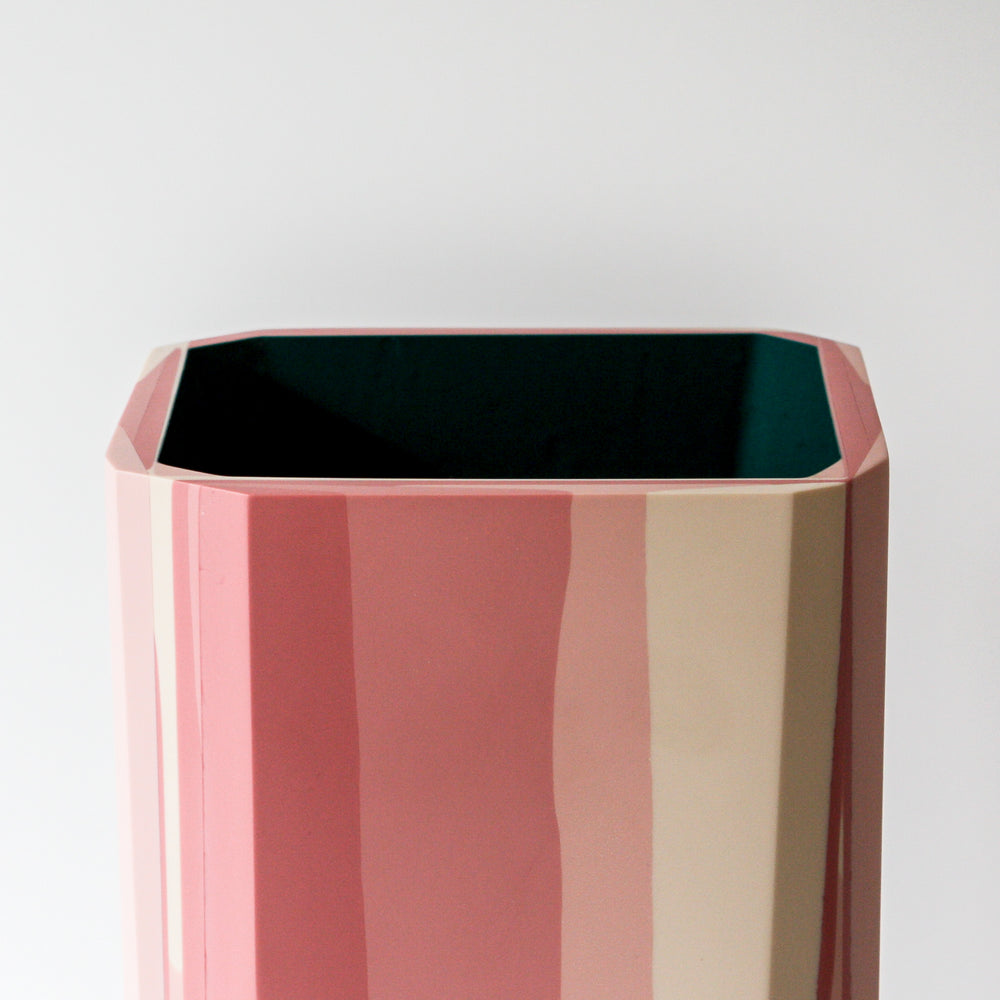 Mecca Vase handmade with resin and plaster in pink and teal part of the Anyon and Elyse Graham Blithe Collection