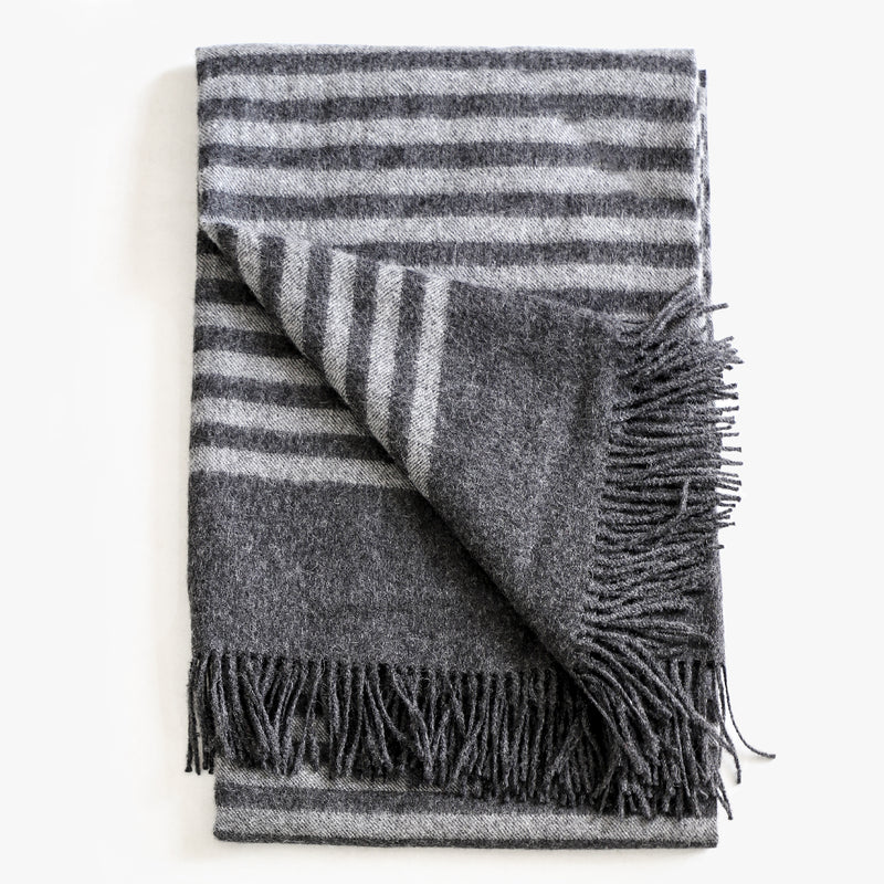 Alpaca Stripe Throw in graphite gray 100% alpaca by Evangeline Linens