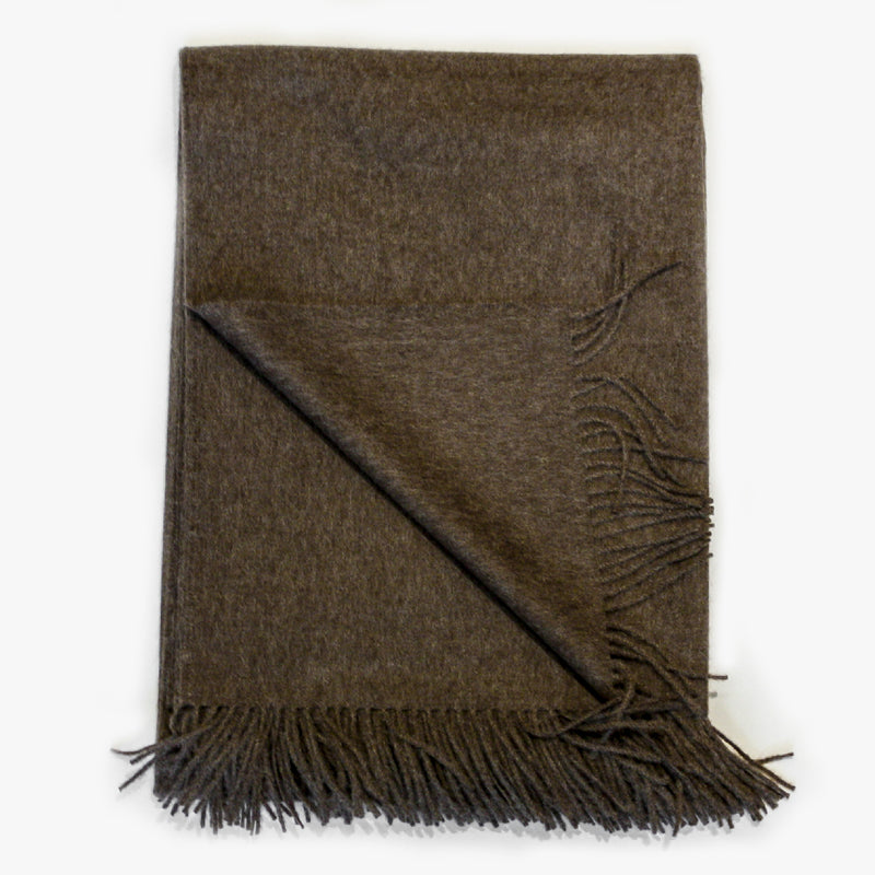 Alpaca Throw 100% alpaca in mocha dark brown by Evangeline Linens