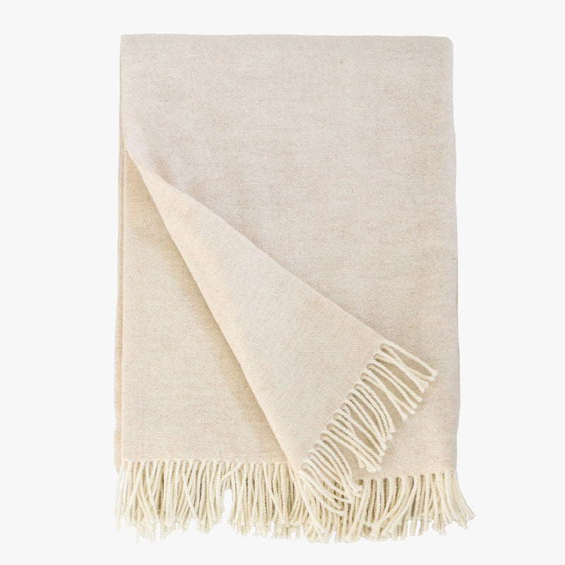 Lightweight Herringbone throw in cream made of Merino wool and cashmere by Evangeline