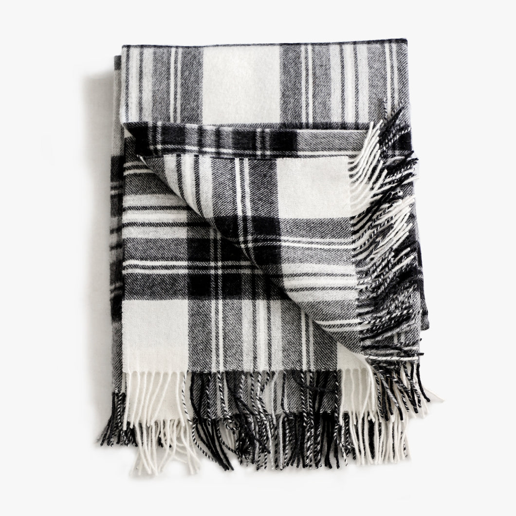 Plaid Throw in Coal