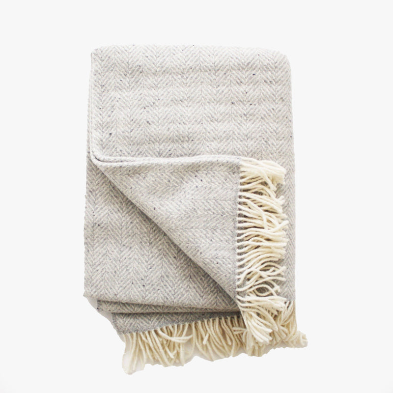 Herringbone Throw in Fog