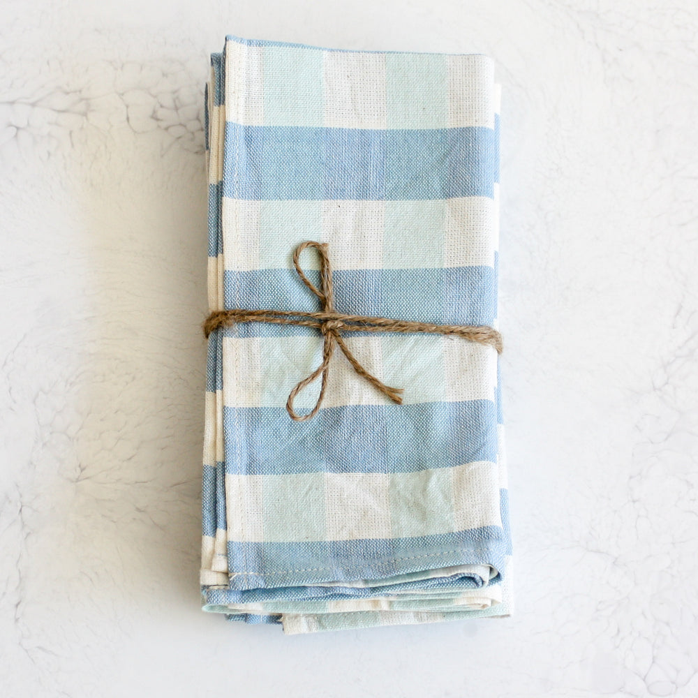 Woven gingham napkins in ocean blue