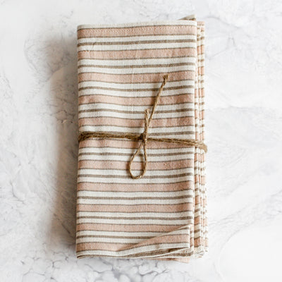 Multi stripe in blush woven napkins