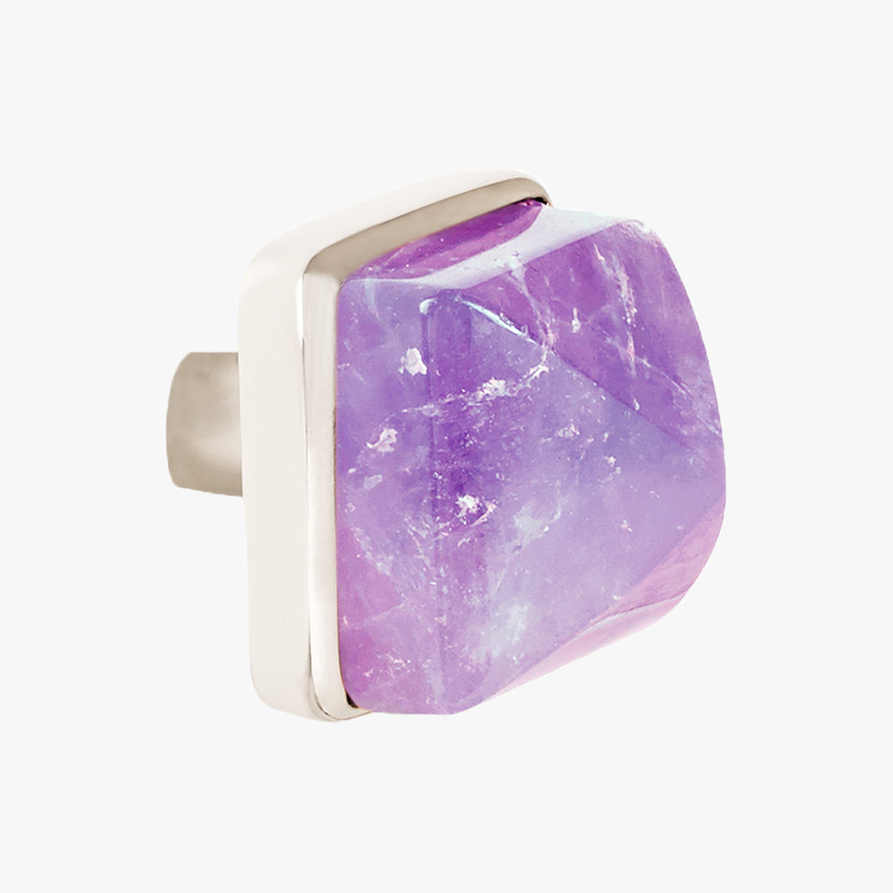 Hayden knob handmade in amethyst and polished chrome by Matthew Studios
