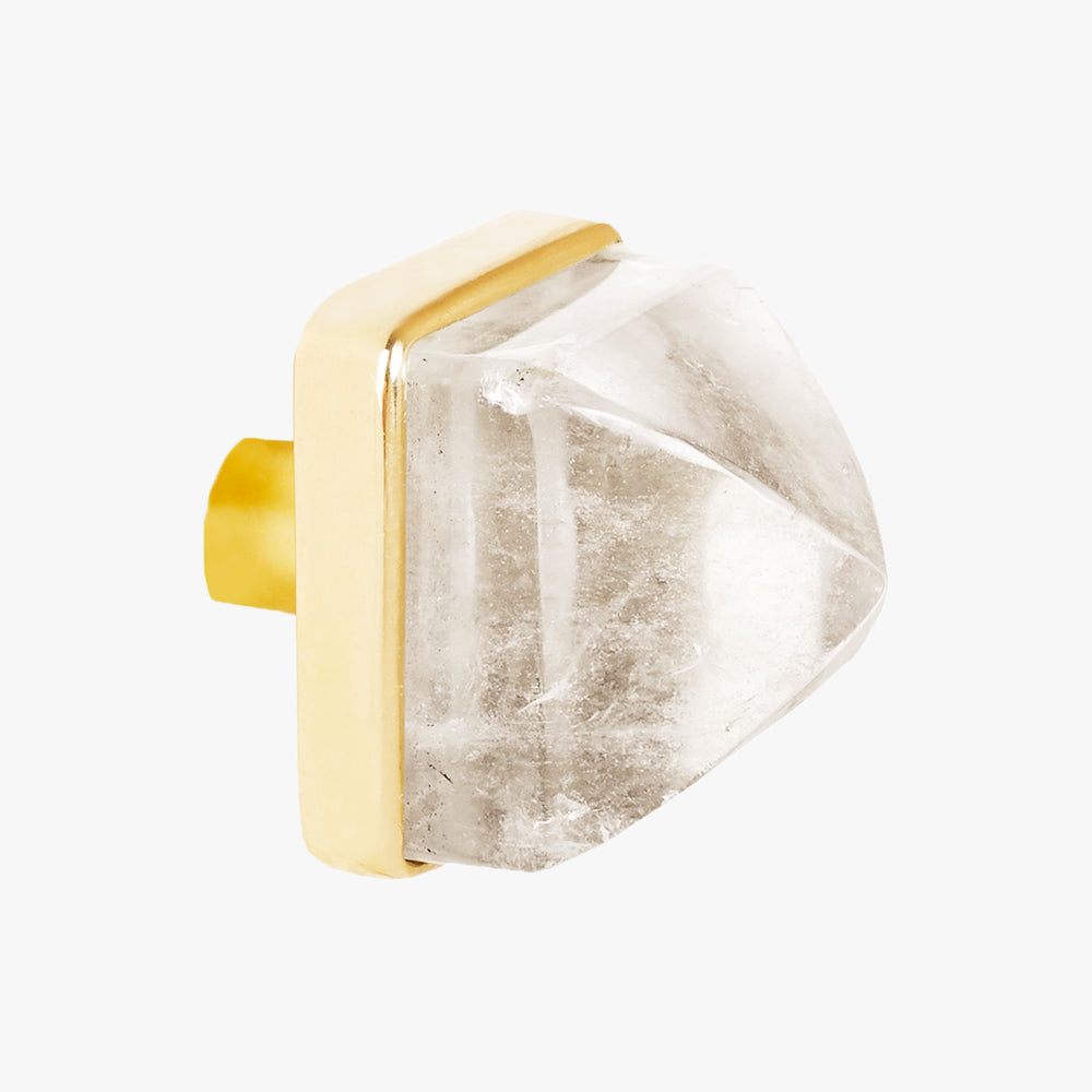 Hayden knob handmade in clear quartz crystal and polished brass by Matthew Studios