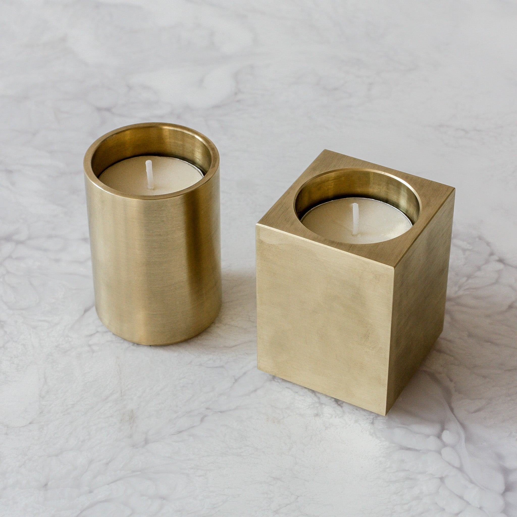 Solid Brass Tealight Votives Round and Square