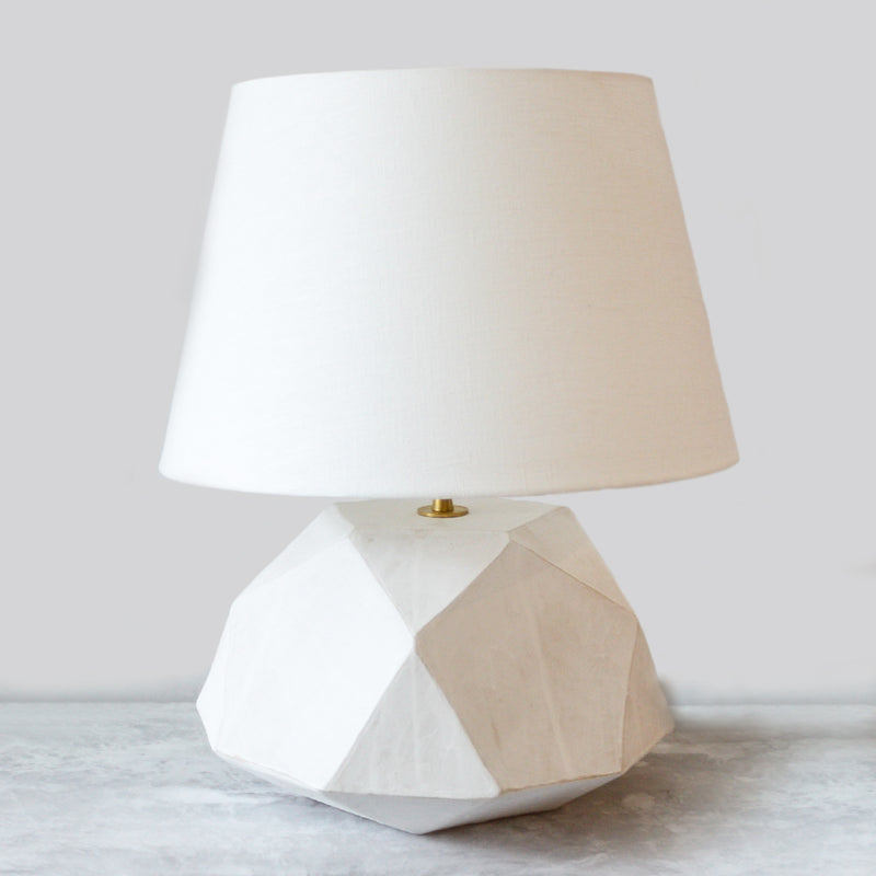 Geode Table Lamp Ceramic with an eggshell linen shade and unfinished brass hardware by John Sheppard