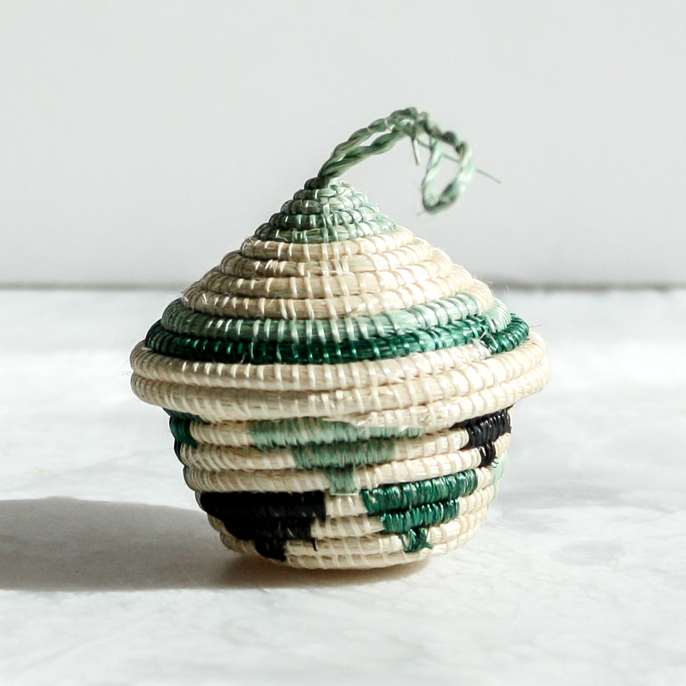 Bayou Nya Ornaments green with stripes made of sisal and sweet grass by Kazi Goods All Across Africa