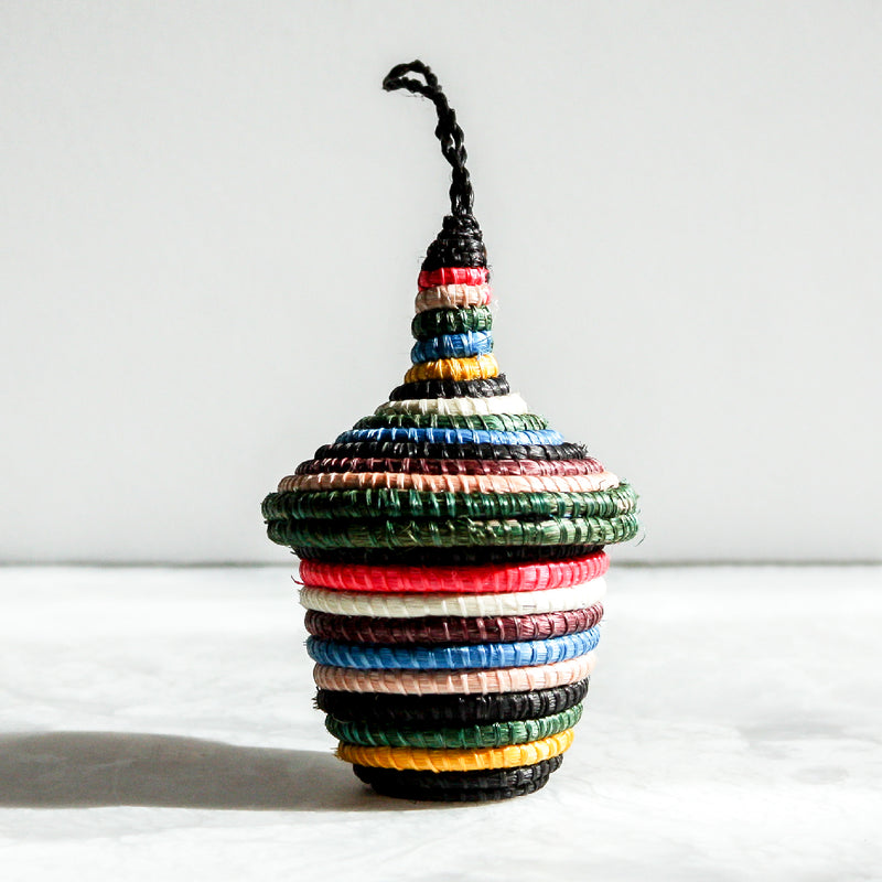 Black and Neon Nya Ornaments with colorful stripes made of sisal and sweet grass by Kazi Goods All Across Africa