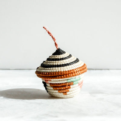 Desert Flower Nya Ornament short cream made of sisal and sweet grass coral and black by Kazi Goods All Across Africa