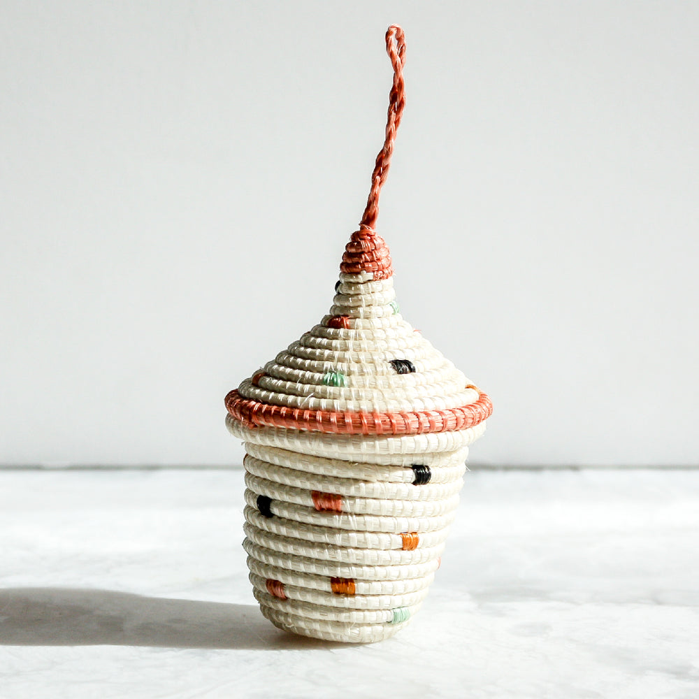 Desert Flower Nya Ornament Tall cream with dots made of sisal and sweet grass in coral, green and black by Kazi Goods All Across Africa
