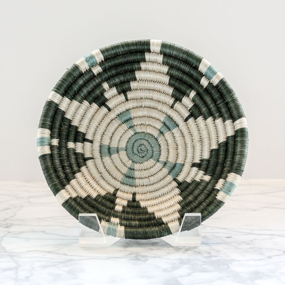 Small Gray Green Hope Bowl handwoven of sisal and sweet grass with organic dyes by Kazi Goods