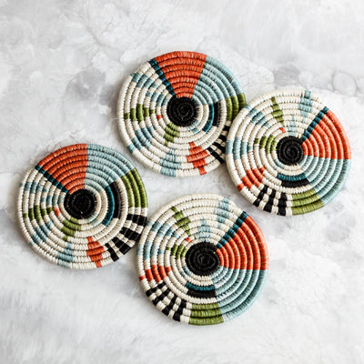 Melon Biko Coasters made sisal and sweet grass in orange, green and blue by Kazi Goods All Across Africa