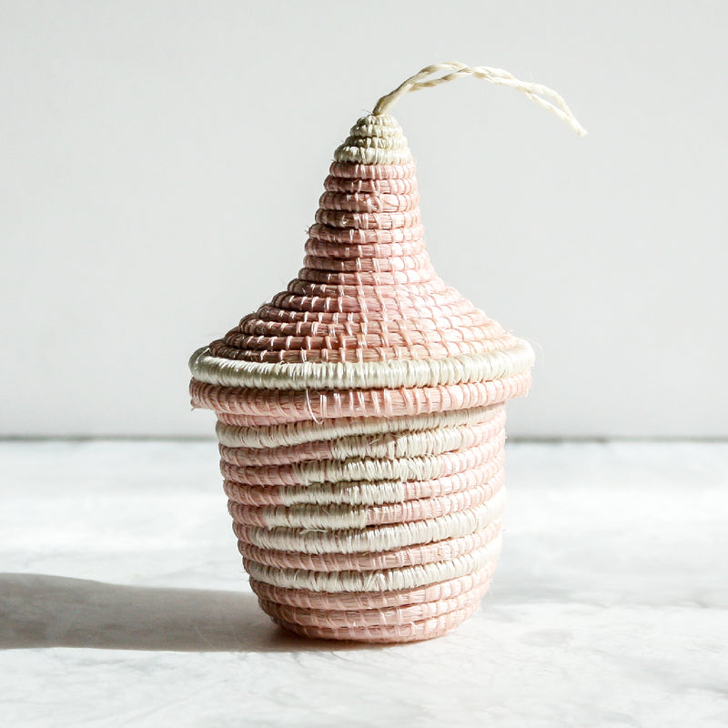 Nya Ornaments made of sisal and sweet grass in blush pink by Kazi Goods All Across Africa