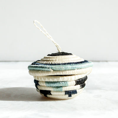 Silver Blue Nya Ornaments made of sisal and sweet grass by Kazi Goods All Across Africa