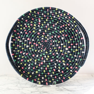 Speckled Blue Night Tray made of sisal and sweet grass by Kazi Goods All Across Africa