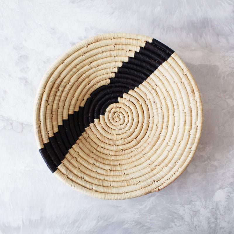 Black + Natural Striped Basket