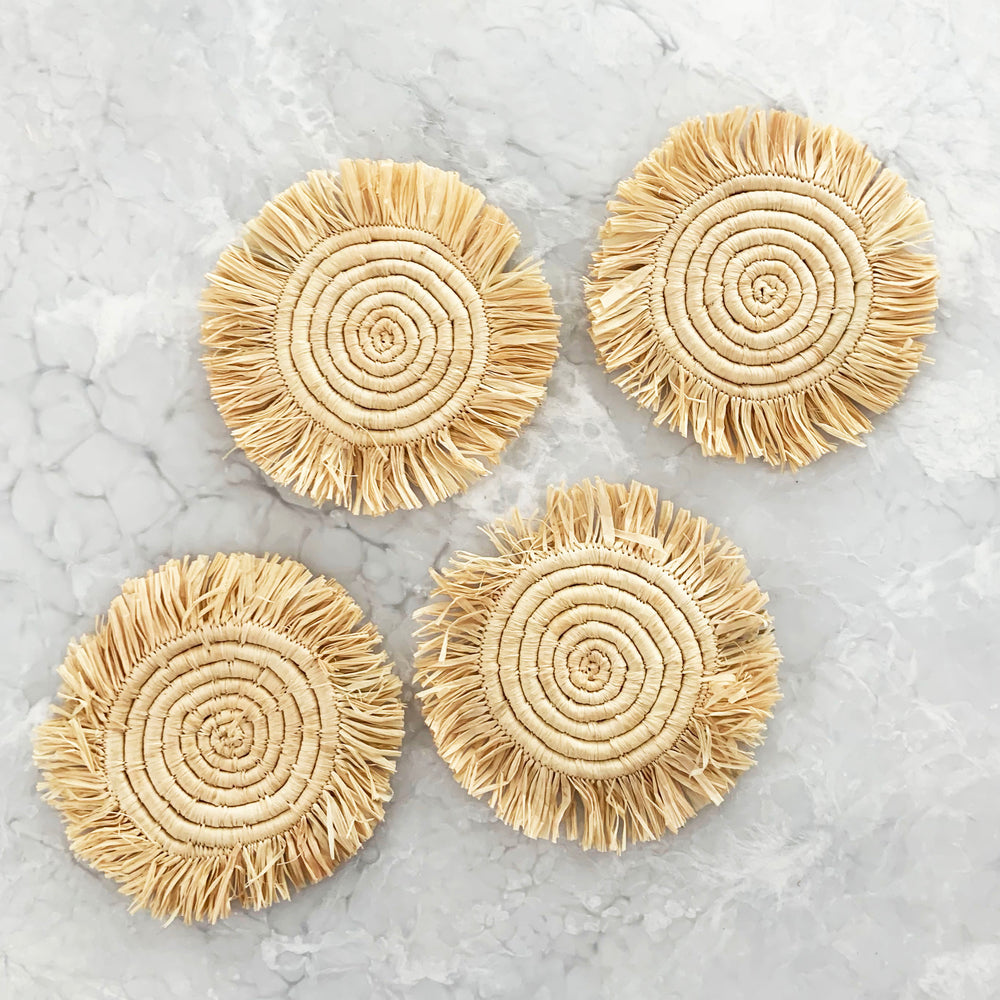Fringed Natural Coasters