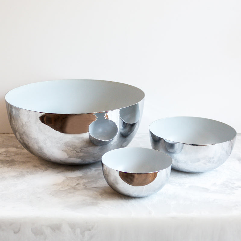 Chrome and light blue bowls by Louise Roe Copenhagen