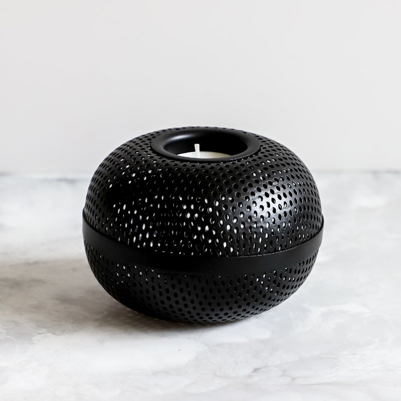 perforated tealight in black by Louise Roe Copenhagen