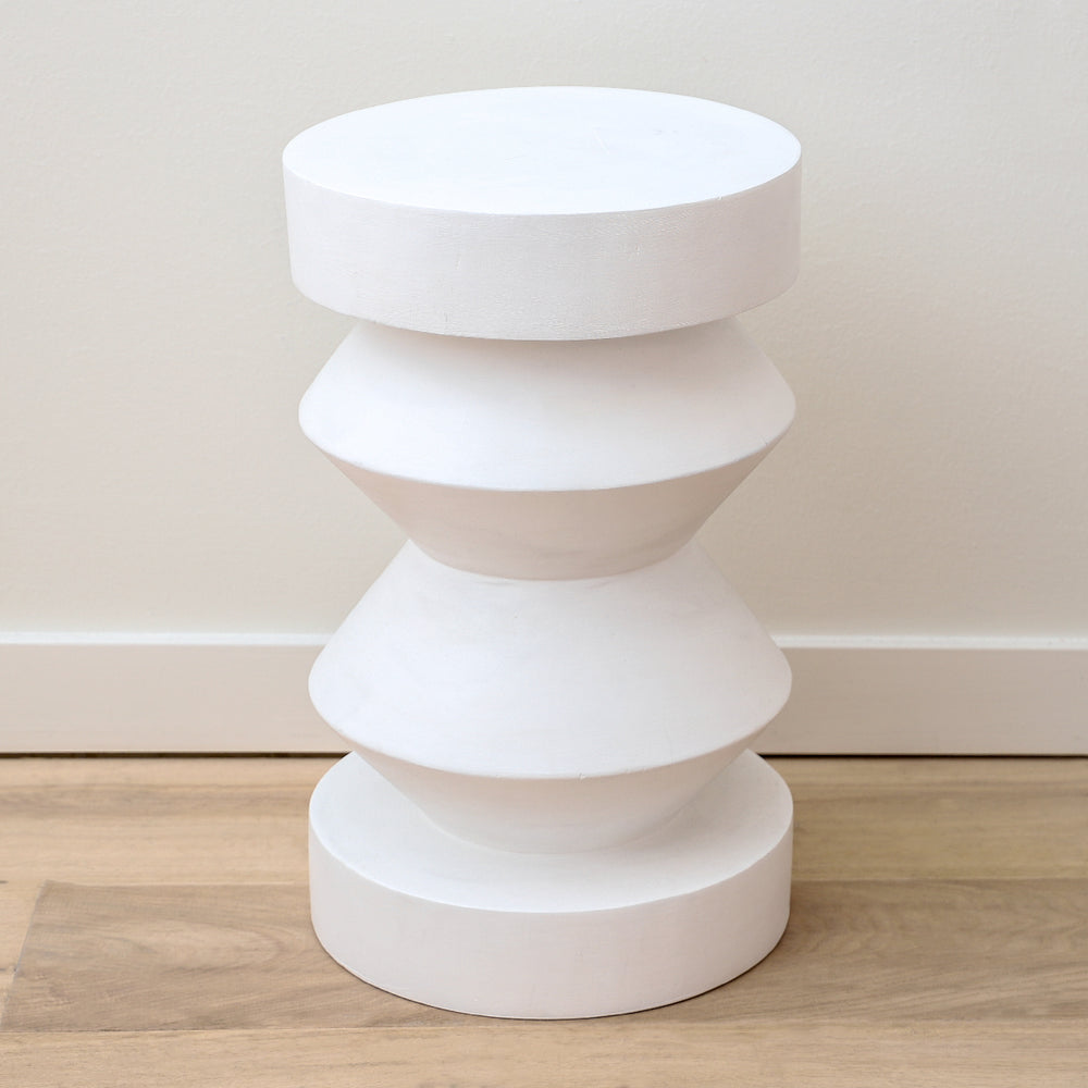 Floyd stool made of matte white acacia wood by Made Goods