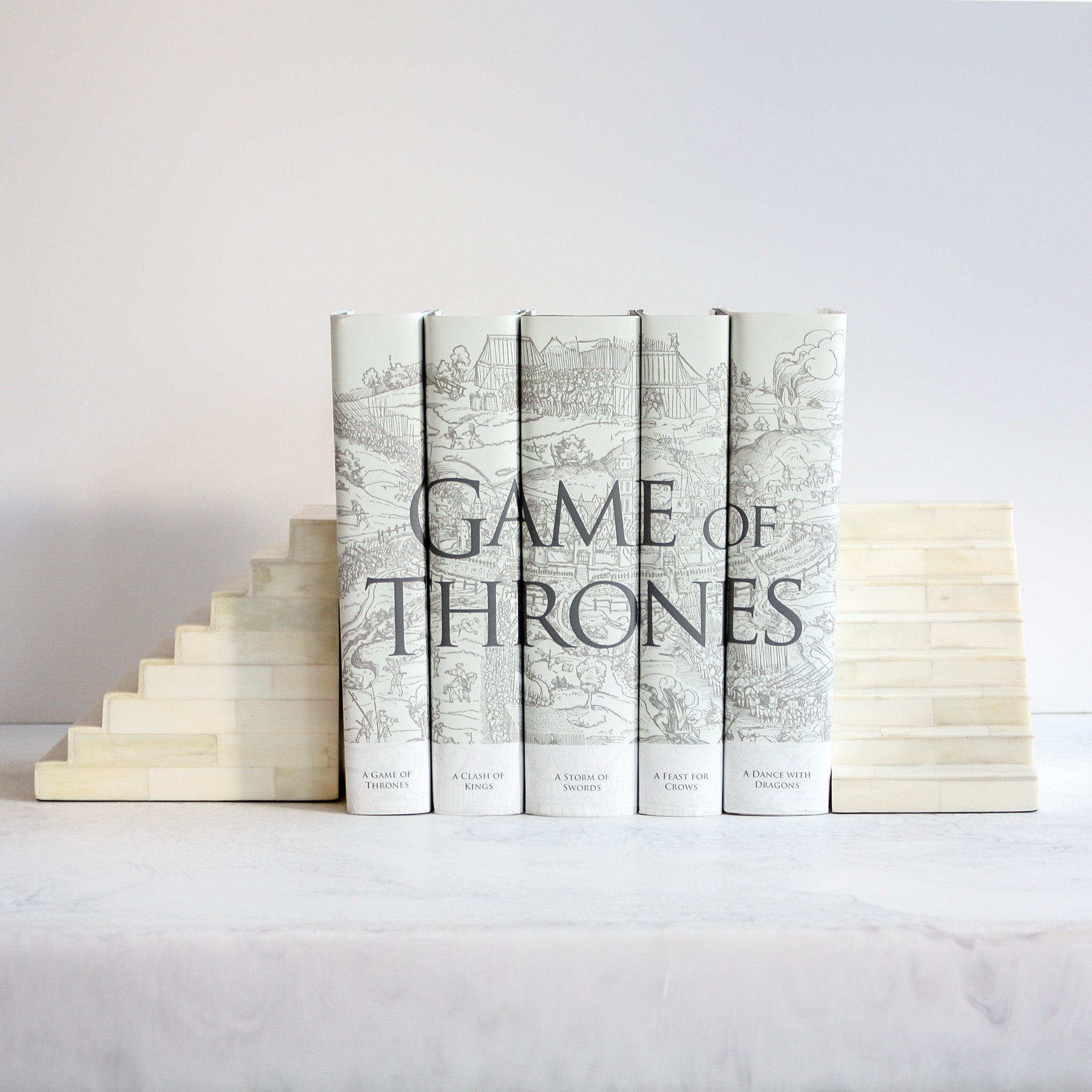 Small Bone Staircase Bookends with Game of Thrones Set