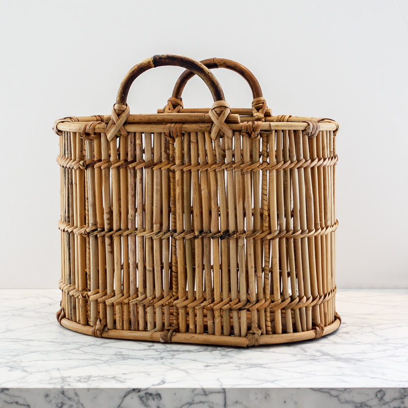 Cottage Garden Tote basket handwoven rattan by Mainly Baskets