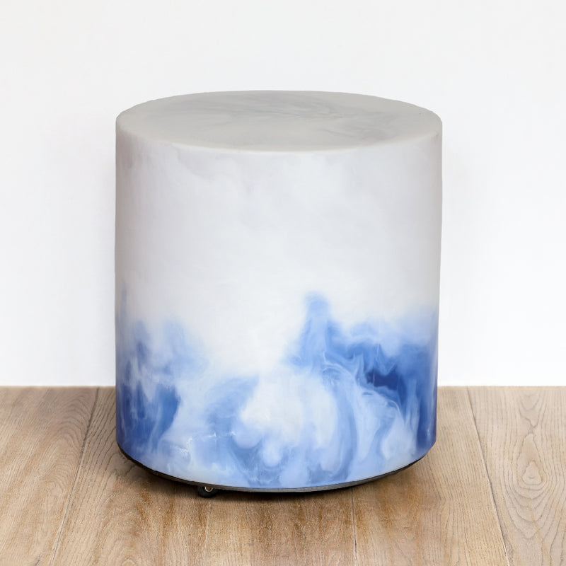 Chief Round Stool - White & Ice Blue