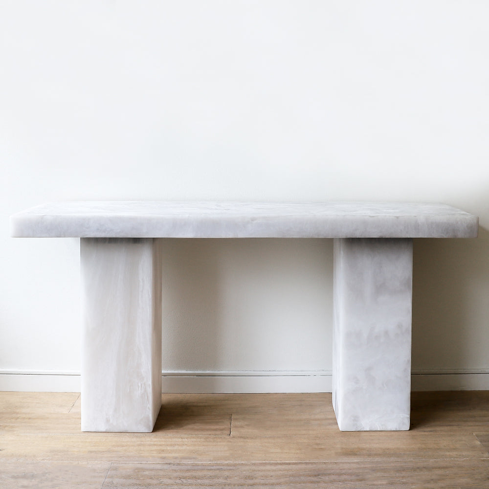 Lions Desk made of white marble resin by Martha Sturdy