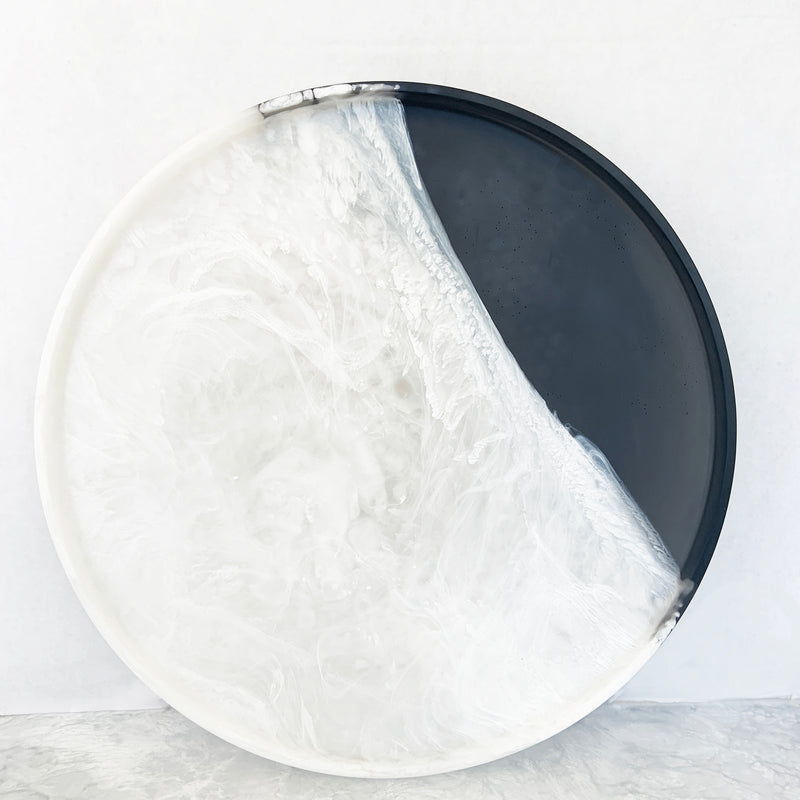 Sturdy Round Tray - White Marble & Charcoal