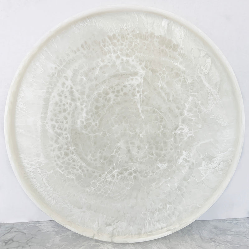 Sturdy Round Tray - White Marble