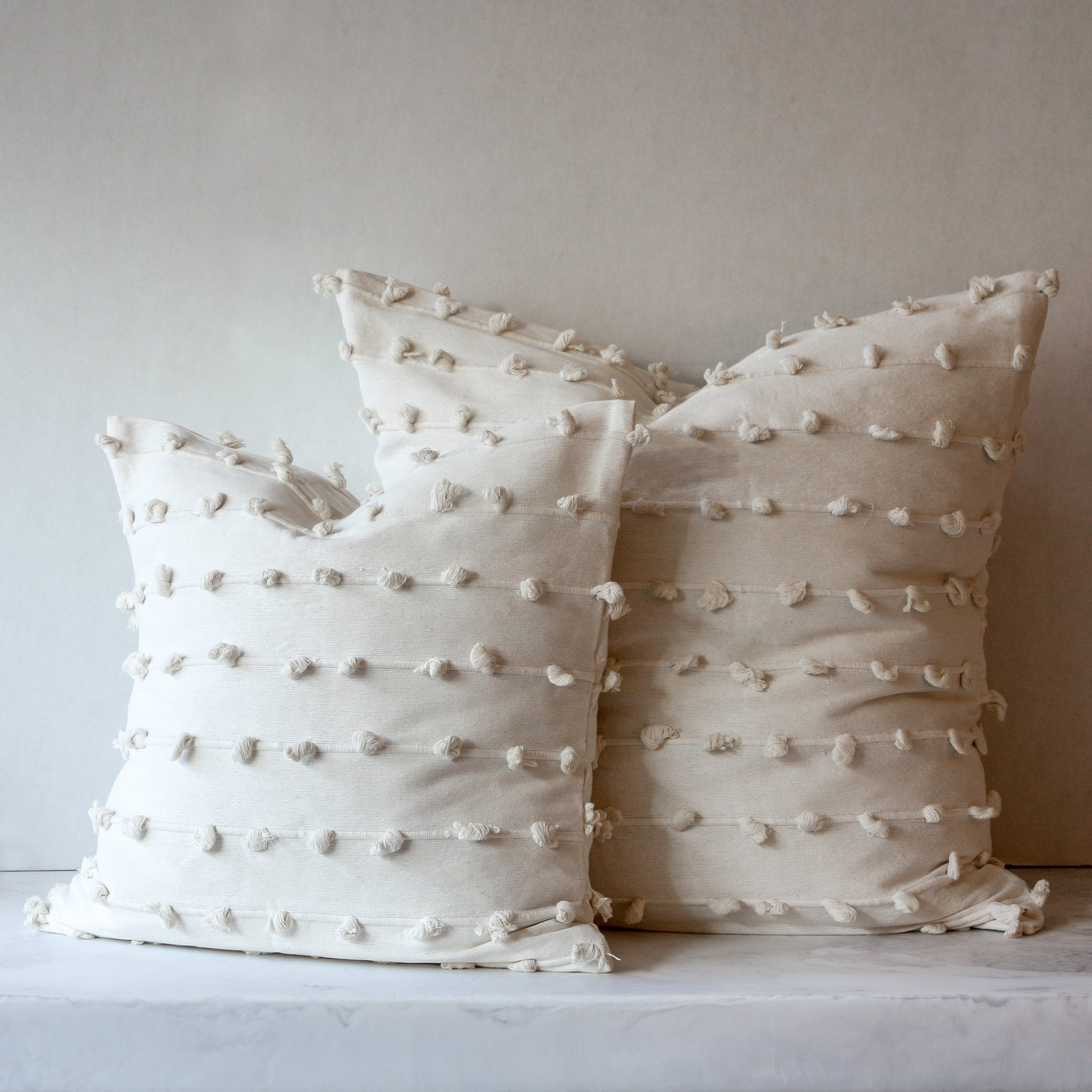 Puff throw and euro pillow in cream