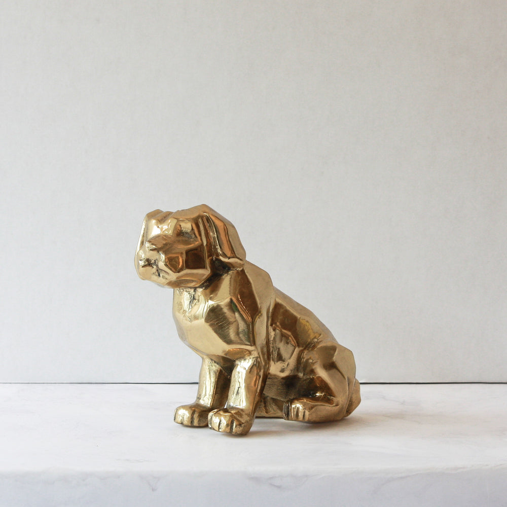 Sitting brass dog
