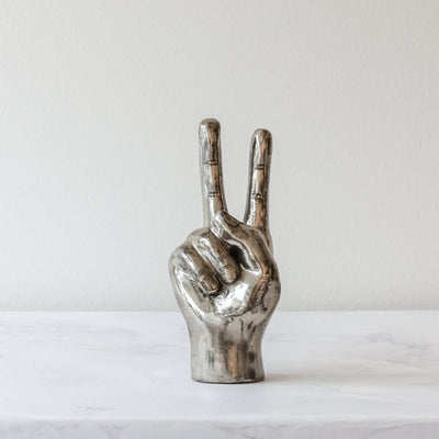 peace sign hand in silver