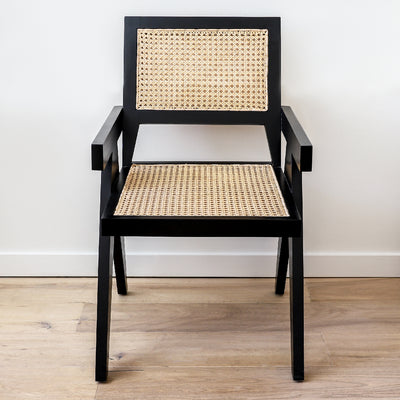Harlan chair in black with natural caning
