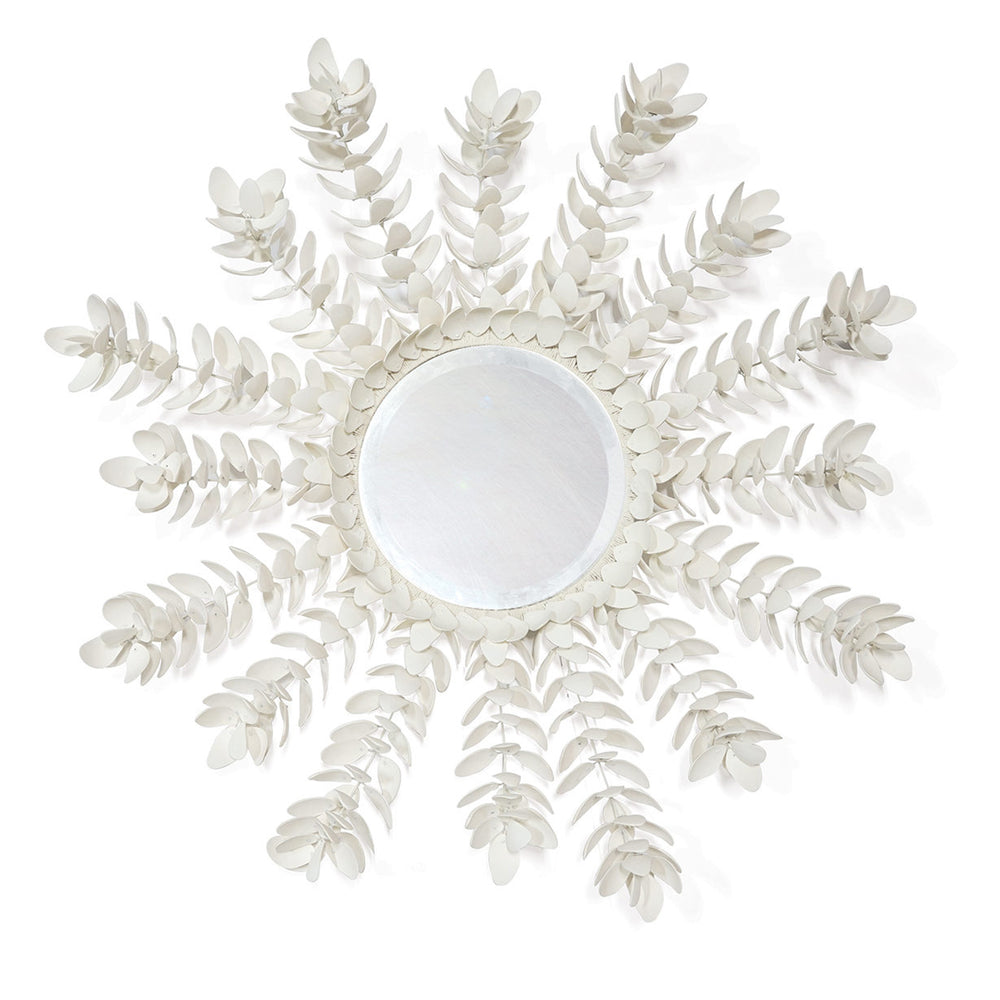 High End Home Décor Featuring A Magnolia Mirror Made Of Metal & Hand Cut Coco Shell Finished In Off White