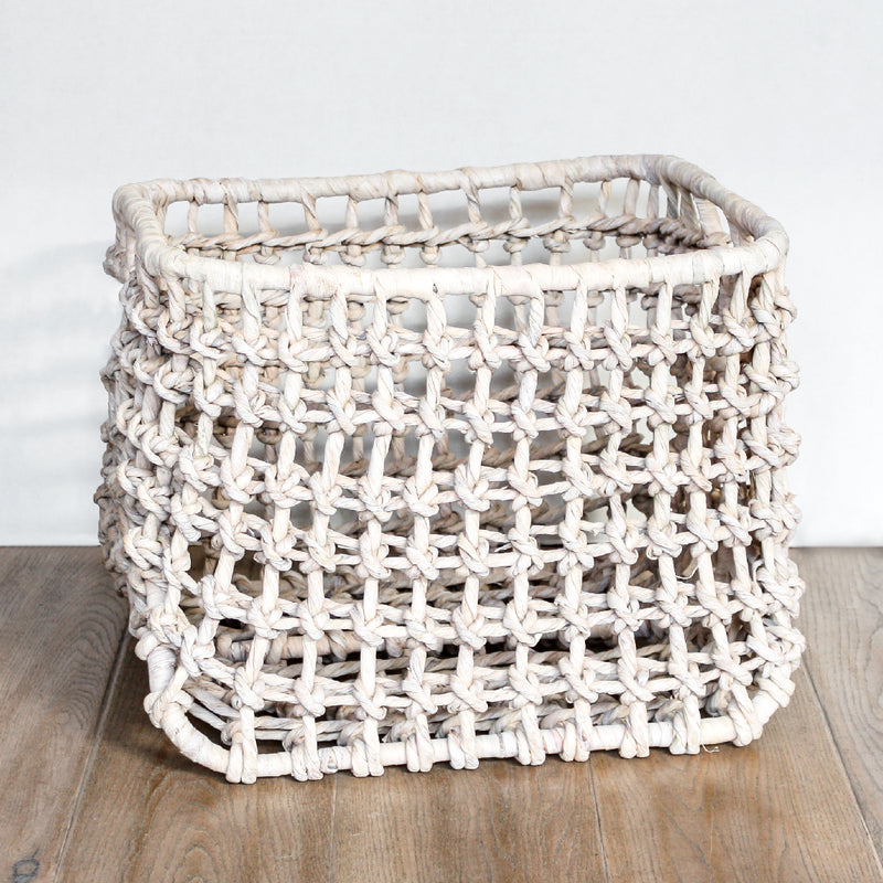 Bern Baskets made of water hyacinth in a whitewashed finish by Pigeon and Poodle