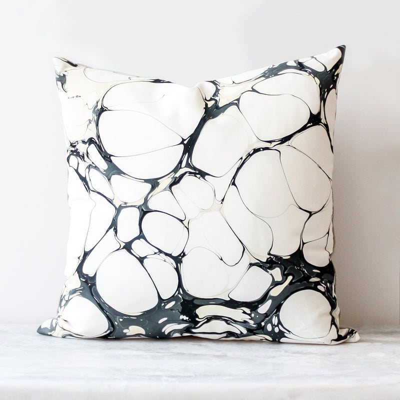 Handmade Seastone Bone China Pillow made of silk and Belgian linen in black and white by Rule of Three Studio
