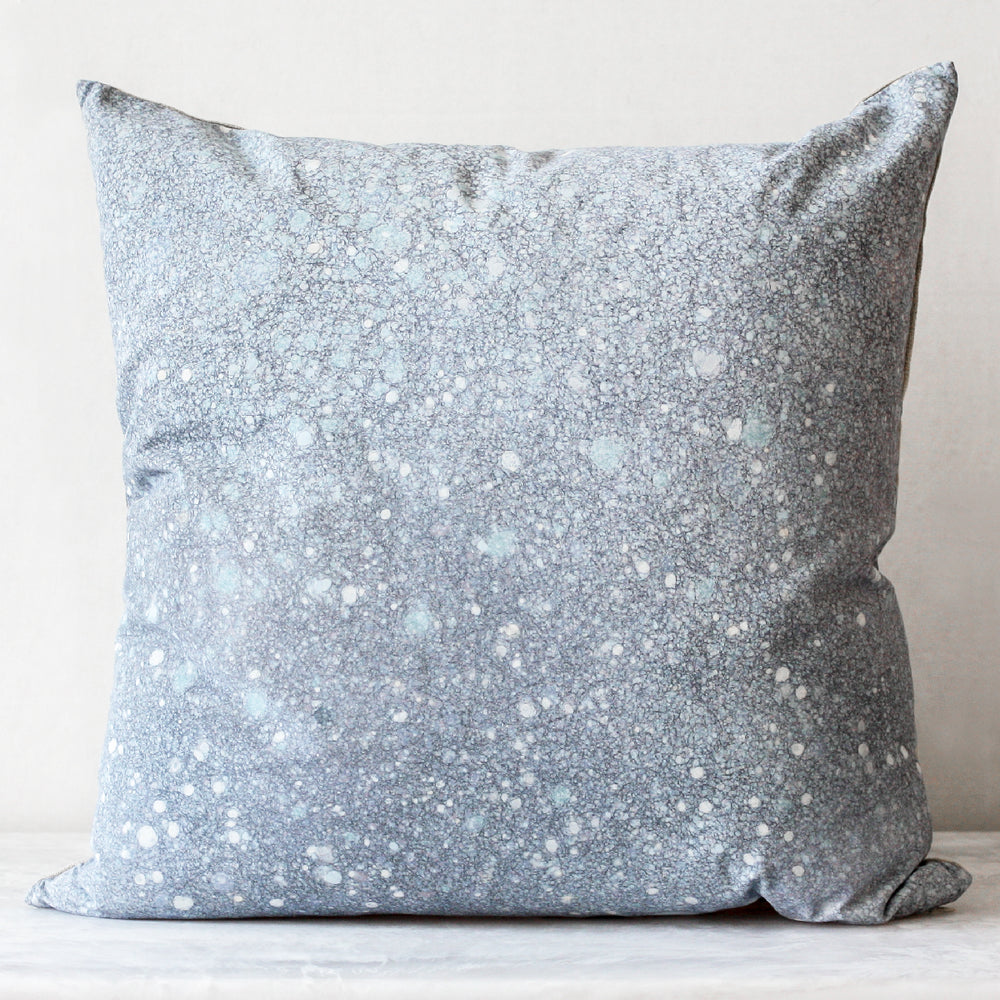Crystalline Pillow made of 100% silk front, Belgian linen back and fully lined in cotton muslin in a celestine blue by Rule of Three Studio
