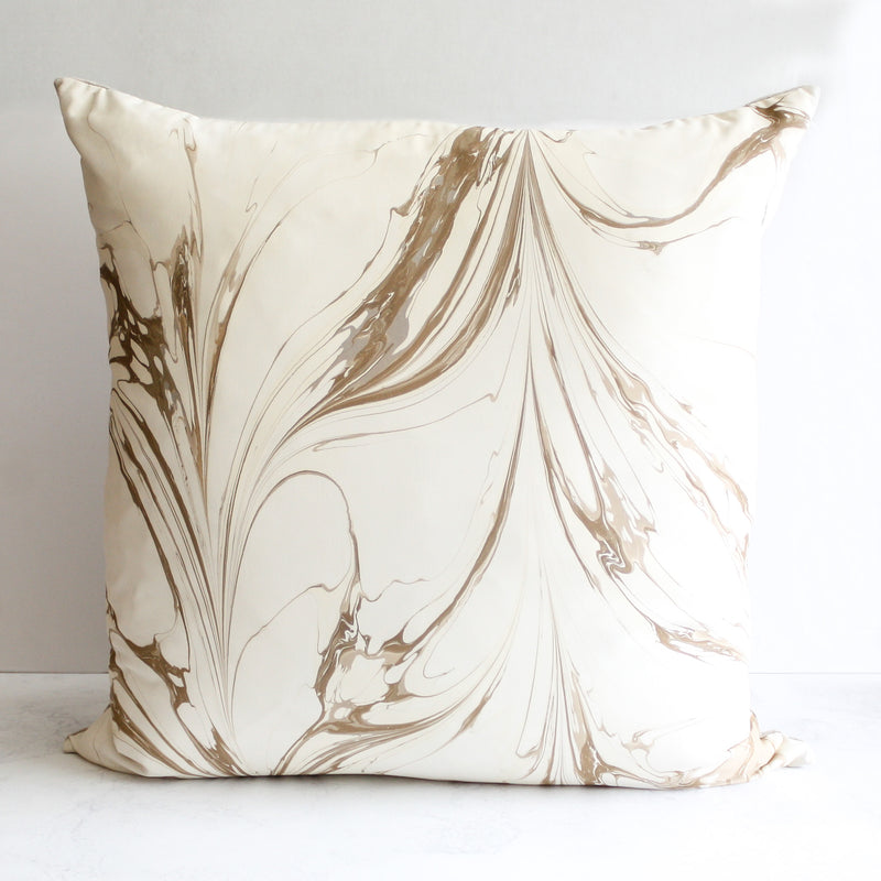 Plume Stone pillow handmade in 100 percent silk front and linen back in beige and tan by Rule of Three Studio