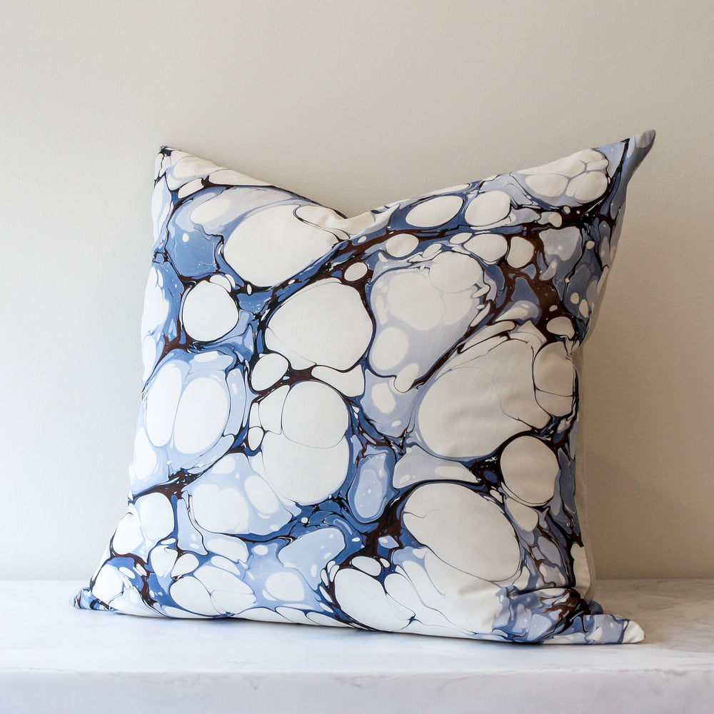 Euro pillow in Seastone Le Marais blue